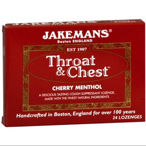 Jakemans Throat & Chest Lozenges Cherry Menthol 24 Each (Pack of 4)