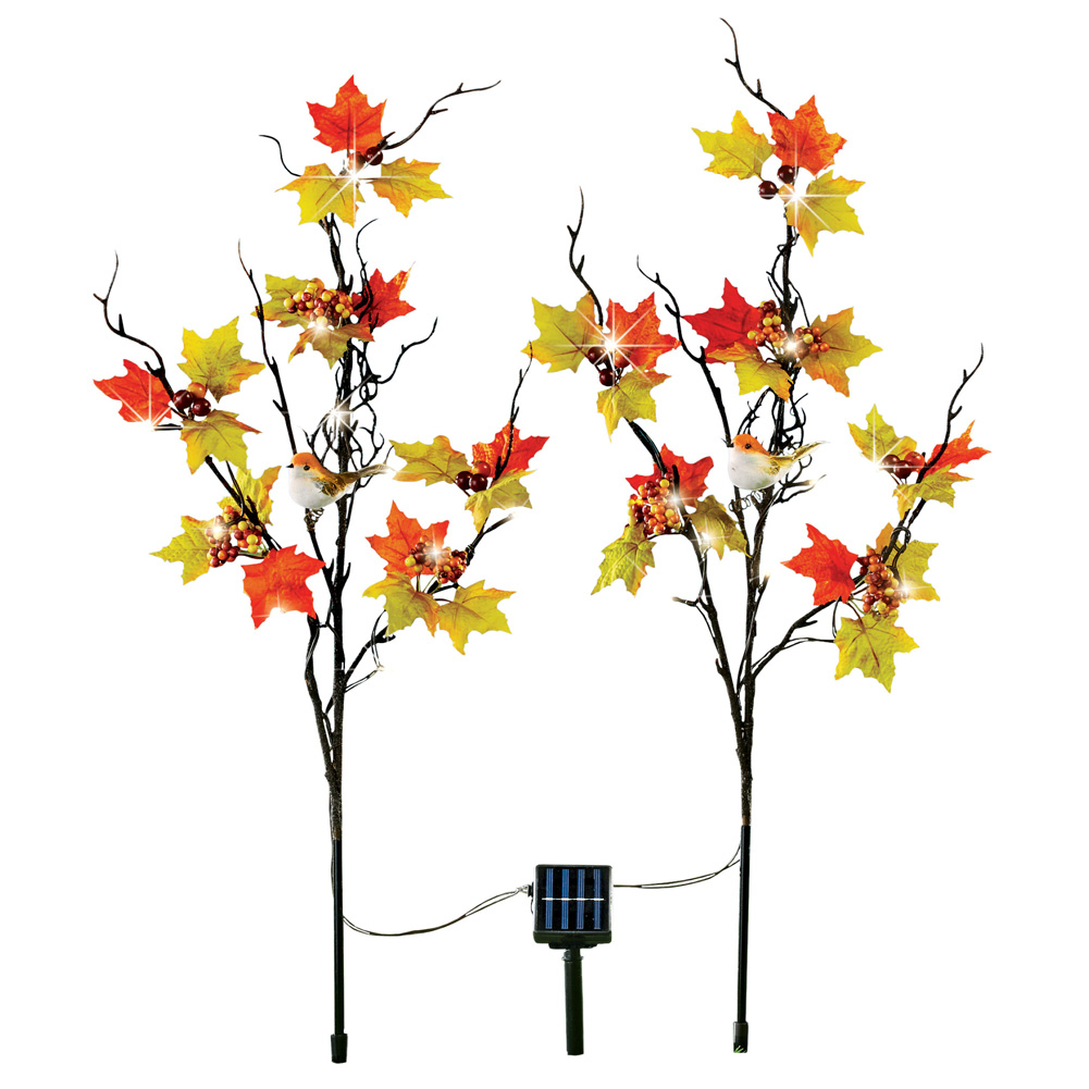 Solar Autumn Branch Decorative Garden Stakes, Lighted Fall Outdoor Décor