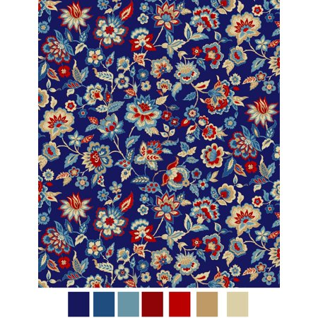 RTC Fabrics Laurens Floral Jacobean Blue 100% Cotton Fabric by the Yard ()