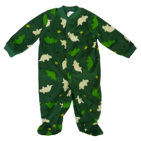 Little Wonders Infant Boys Green Fleece Dinosaur Blanket Sleeper 3 6M