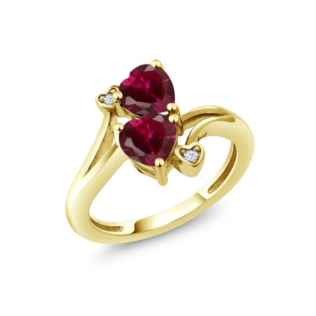 1.95 Ct Heart Shape Red Created Ruby 10K Yellow Gold Ring