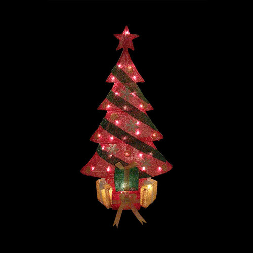 Northlight Seasonal Lighted Tinsel Decorated Christmas Tree with Gifts Yard Art Decoration
