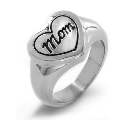 Polished Engraved 'Mom' Heart Stainless Steel Ring (13mm)