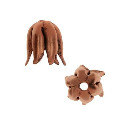 - Nunn Design Bead Caps, Curled Petal 8mm, 2 Pieces, Antiqued Copper