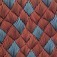 Coral and Blue Art Deco Fan Peel and Stick Wallpaper by Drew Barrymore Flower Home