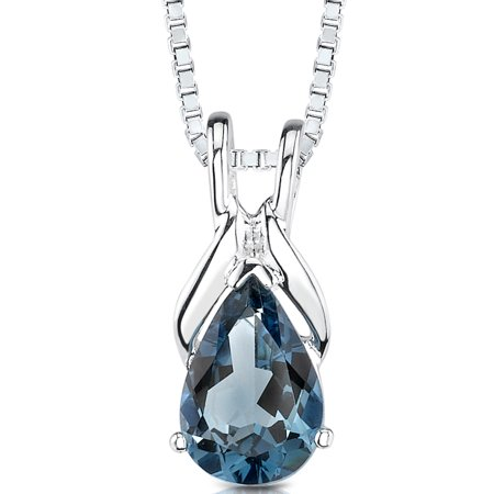 Peora 1.50 Ct Pear Shape London Blue Topaz Rhodium-Plated Sterling Silver Pendant, 18