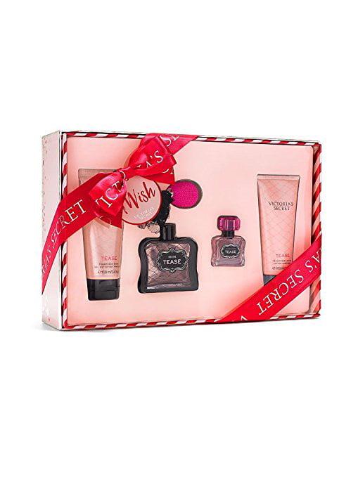 Victoria secret 4 piece Tease Gift set  0.25 fl oz Perfume: 1.7 fl oz body wash: 3.4 fl oz Body lotion: 3.4 fl oz