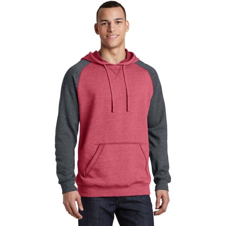 District® Young Mens Lightweight Fleece Raglan Hoodie.  Dt196 Heathered Red/ - image 1 of 1