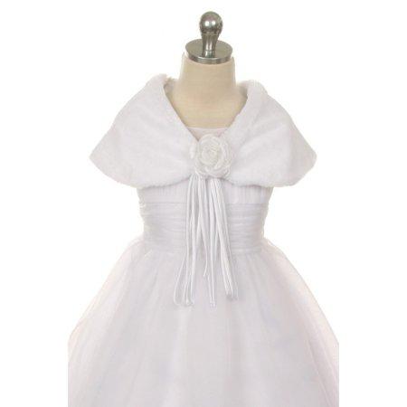 Kids Dream White Flower Shoulder Wrap Elegant Fur Shawl Girl 4