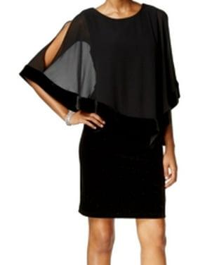fe6e3bbaa69c4 Product Image MSK NEW Black Womens Size 8 Chiffon Overlay Glitter Velvet  Sheath Dress