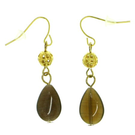Drop Dangle Earrings With Brown Bead Accents Gold-Tone