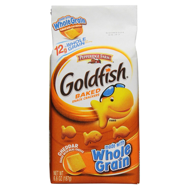 Pepperidge Farm Goldfish Whole Grain Cheddar Baked Snack Crackers 6.6 oz Bags - Pack of 4