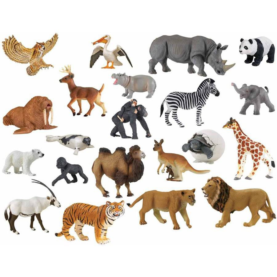 Childcraft Zoo Animal Set, Assorted Colors, Set of 21