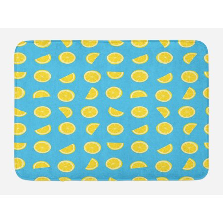 - Yellow and Blue Bath Mat, Fresh Lemon Slices Fruit Happy Summer Sun Exotic Vacation Holiday Joy, Non-Slip Plush Mat Bathroom Kitchen Laundry Room Decor, 29.5 X 17.5 Inches, Sky Blue Yellow, Ambesonne