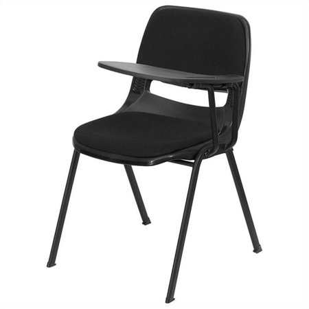 Bowery Hill Padded Ergonomic Shell Stacking Folding Chair in Black - image 4 de 4