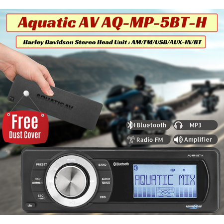 Aquatic AV 1998-2013 Harley Davidson Stereo Head Unit AM / FM / USB / AUX-IN / BT AQ-MP-5BT-H