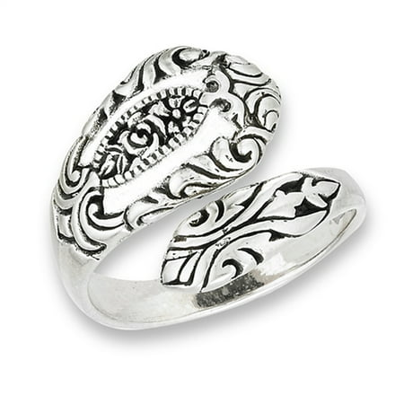 Style Flower Ring (Oxidized Victorian Style Spoon Rose Flower Ring Sterling Silver Band Size 10)