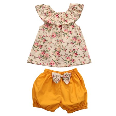 Baby Girl Floral Sleeveless Short Top+Yellow Short Pants Outfit Clothes Set (Baby Girl Golf Outfit)