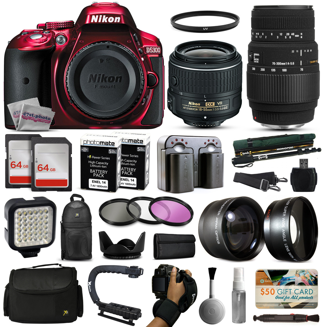 Nikon D5300 Red DSLR Digital Camera + 18-55mm VR II + Sigma 70-300mm Lens + 128GB Memory + (2) Batteries + Charger + LED Video Light + Backpack + Case + Filters + Auxiliary Lenses + $50 Gift Card