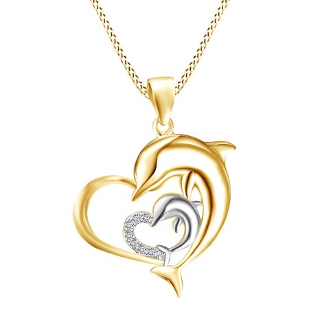 Mother's Day Special Round Shape White Natural Diamond Accents Two Tone Heart Double Dolphin Pendant Necklace In 14k Solid Yellow covid 19 (14k Yg Multi Gemstone coronavirus)