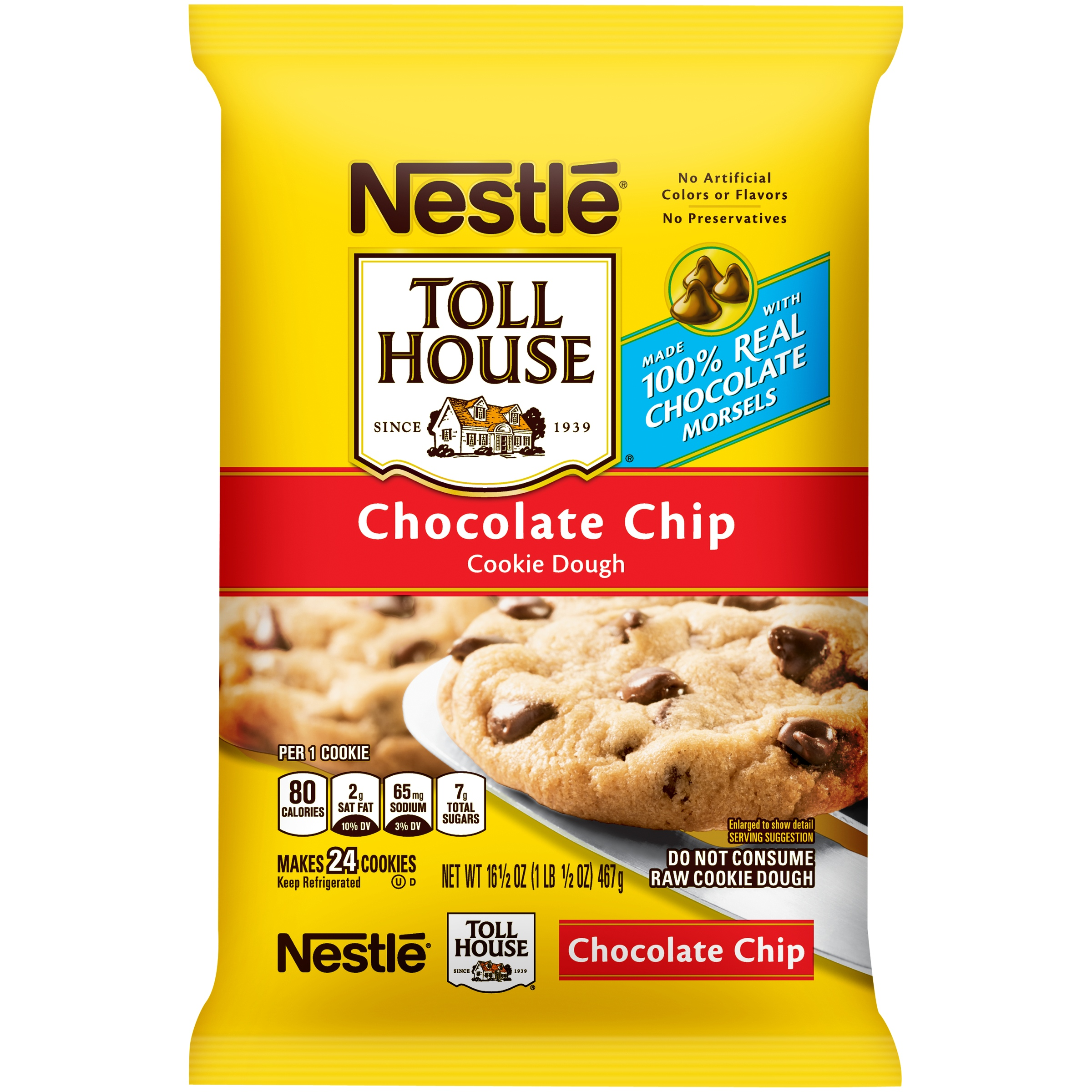 Nestle TOLL HOUSE Chocolate Chip Cookie Dough 16.5 oz. Bar ...