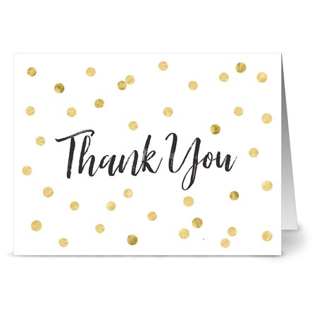 24 Note Cards - Gold Speckled Thank You - Blank Cards - Gray Envelopes Included