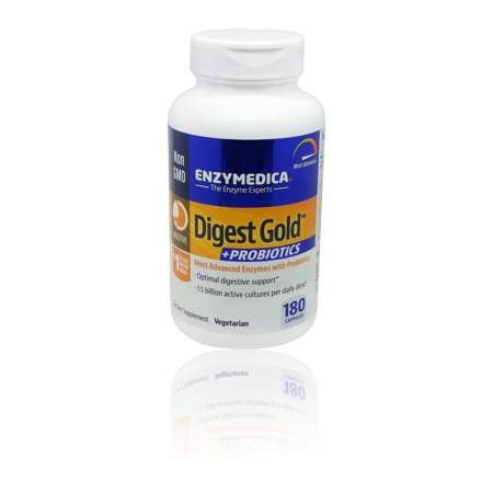 Enzymedica - Digest Gold + Probiotics Advanced Digestive Enzymes + Probiotics for Essential Digest Care 180 Capsules - Enzymedica Digest Gold