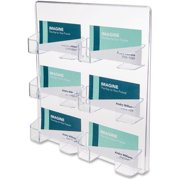 deflecto Six-Pocket Wall Mount Business Card Holder, Holds 480 2 X 3 1/2 Cards, Clear