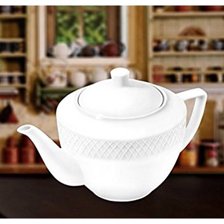 Wilmax WL-880110, 30 oz. Julia Collection White Porcelain Tea Pot, Classic European Bone China Traditional Teapot with Lid, Gift Box