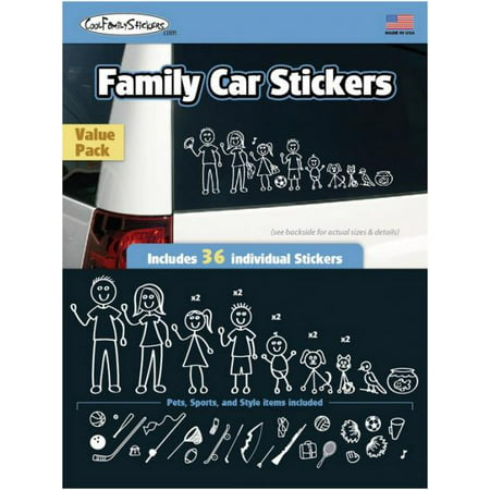 Cool family car stickers value pack contains 36 stickers