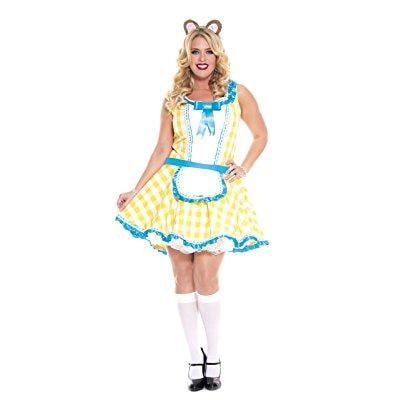music legs women's plus-size glistening goldilocks, yellow/white/blue, - Goldilocks Halloween