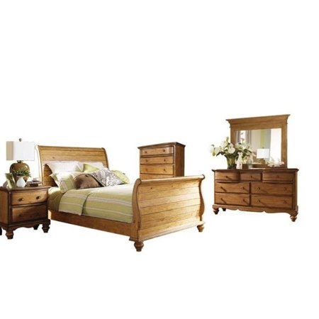 Hillsdale Hamptons 5 Piece Sleigh Bedroom Set In Weathered Pine