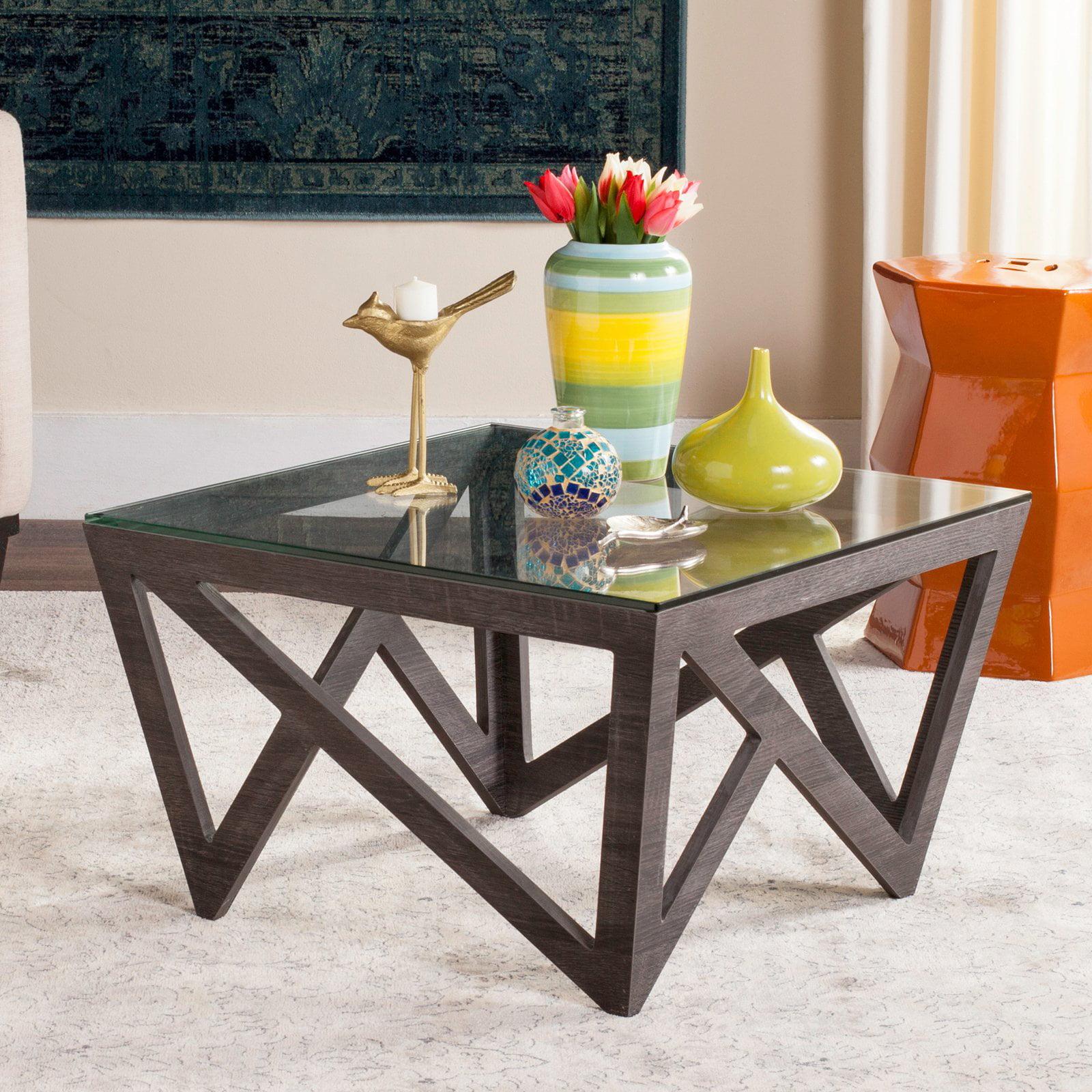 "Safavieh Radley 23"" Square Glass Top Mid Century Coffee Table, Dark Grey"