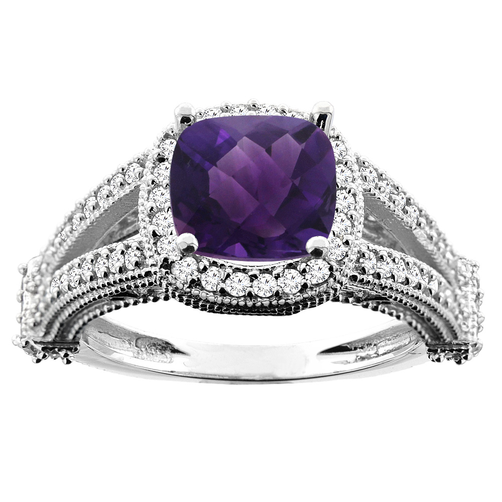 10K White Gold Natural Amethyst Split Shank Ring Cushion 7x7mm Diamond Accent, size 6.5 by Gabriella Gold