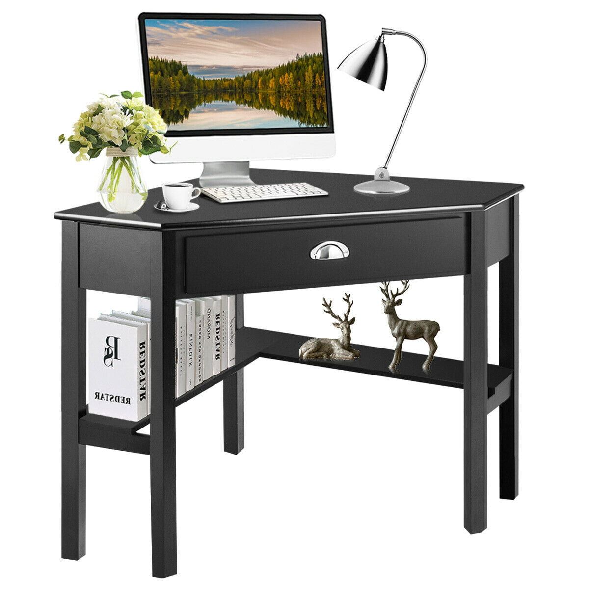 Costway Corner Computer Desk Laptop Writing Table Wood Workstation Home Office Furniture Walmart Com Walmart Com