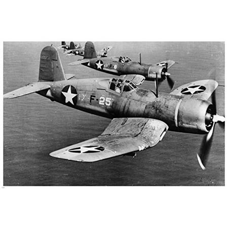 Ww2 Fighter Jets Over Pacific Poster 24X36 Vintage B/W Photo