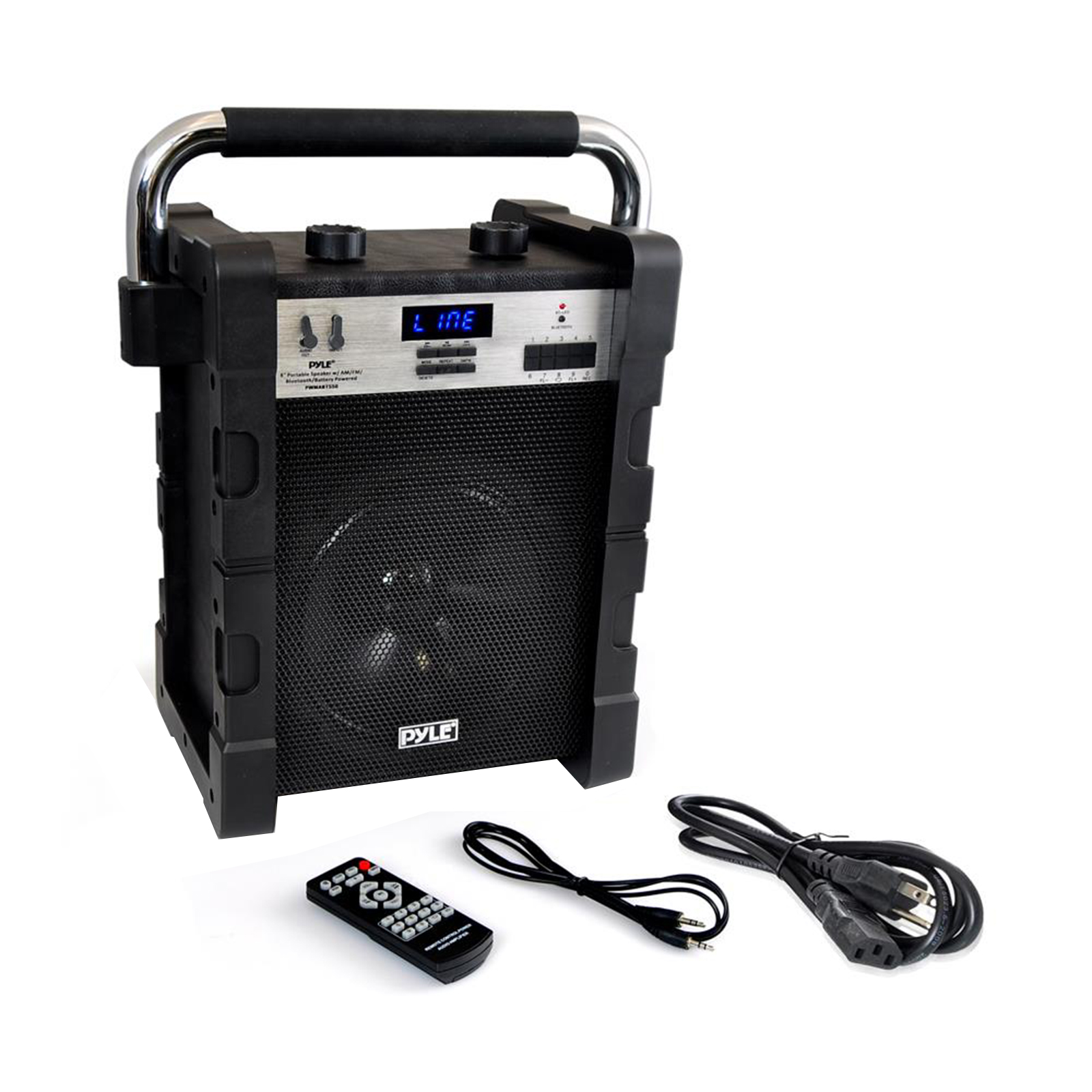 BT Rugged and  Portable Speaker System, Work / Job Site Stereo, Built-in Battery, MP3/USB/SD, AM/FM Radio (Black)