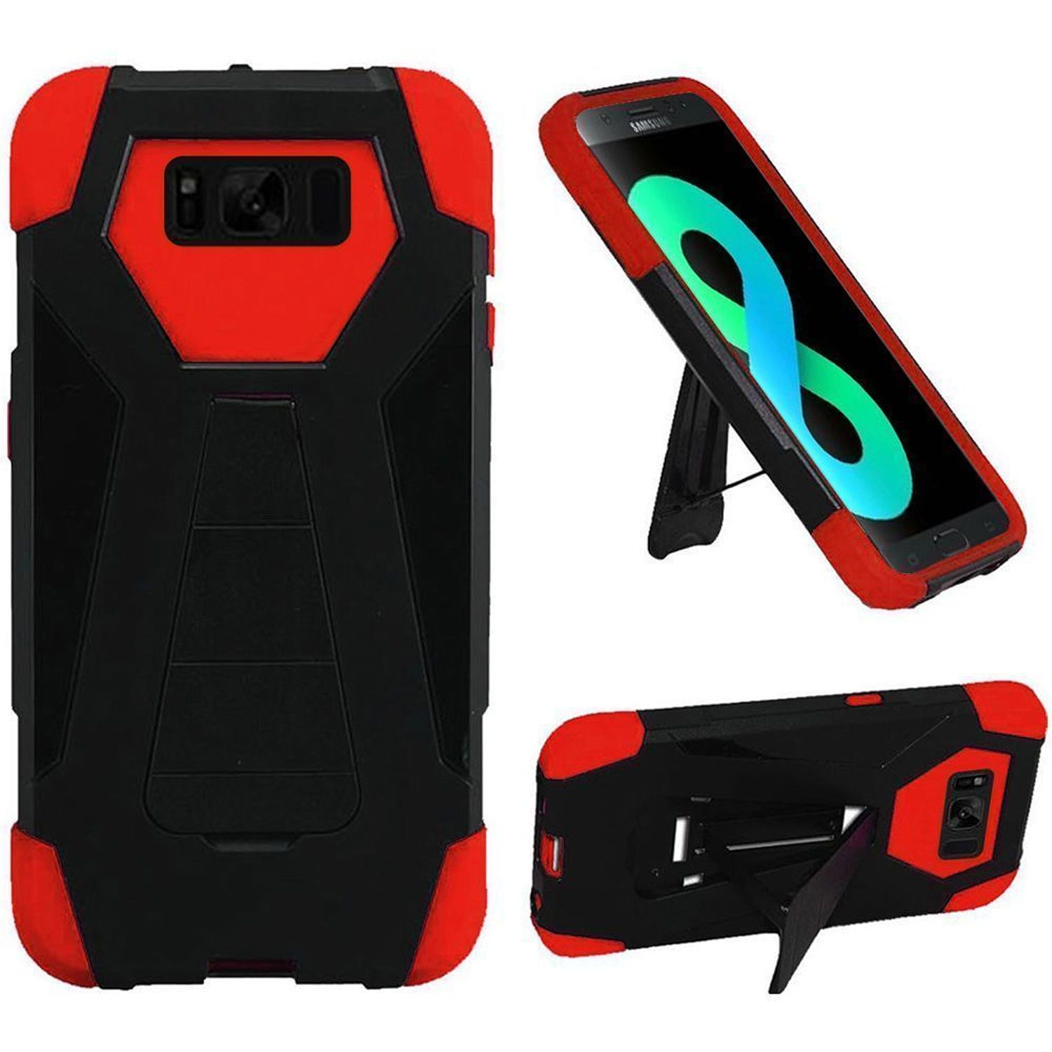 HR Wireless T-Stand Dual Layer Hybrid Stand Rubberized Hard Plastic/Soft Silicone Case Phone Cover For Samsung Galaxy S8 Plus S8+, Black/Red