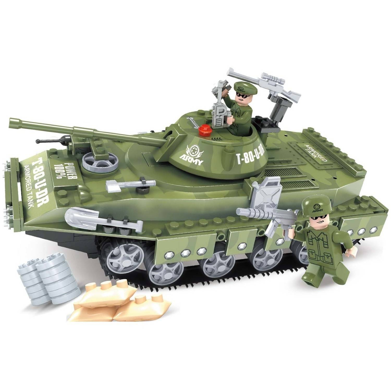 Bric Tek 213-Piece Building Block Army Tank - Compatible with Major Brands Multi-Colored
