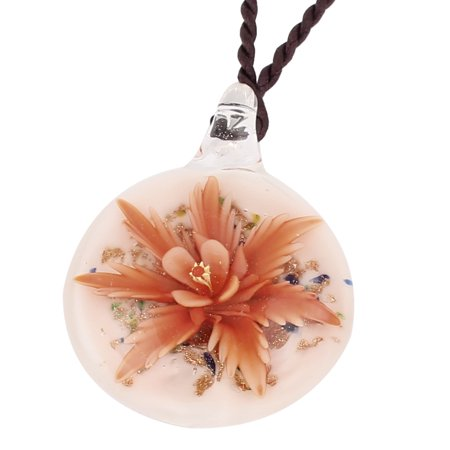 Unique Bargains Nylon String Glass Pressed Flower Design Pendant Necklace Orange White