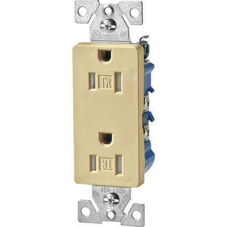 Cooper Industries Decorative Tamper Resistant Duplex Receptacle, 125 V, 15 A, 2 Poles, 3 W, 14 - 10 ()
