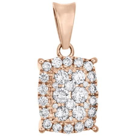 Rectangle White Gold Pendant - 14K Rose Gold Cluster Diamond Rectangle w/ Halo Pendant Ladies Charm 1/4 CT.