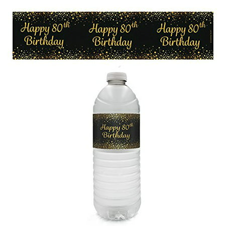 80th Birthday Party - Gold & Black Water Bottle Labels (Set of 20) - Colors For 80th Birthday