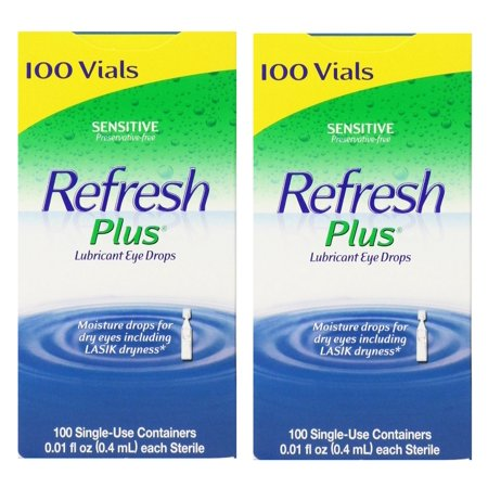 Refresh Plus Lubricant Eye Drops  - 100 Single Use Vials (Pack of