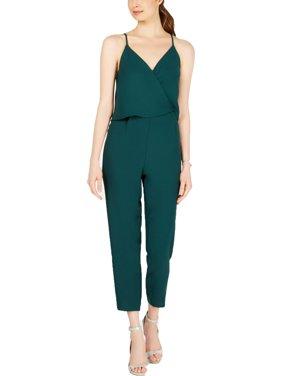 19 COOPER Womens Green Surplice V Neck Straight leg Jumpsuit  Size: M