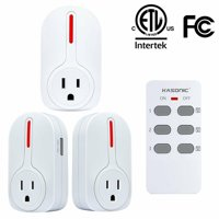 Kasonic Smart Home Remote Control Outlet Multi-Purpose Combo Set 3 Electrical Outlets + 1 Remote Perfect for Household Appliances and Devices ETL-Listed