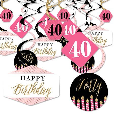 Chic 40th Birthday - Pink, Black and Gold - Birthday Party Hanging Decor - Party Decoration Swirls - Set of 40 - Vintage 40th Birthday Decorations