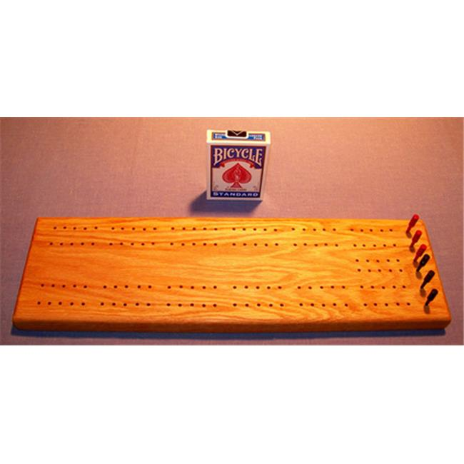 THE PUZZLE-MAN TOYS W-1400-A Wooden Cribbage Game Board in Red Oak Plus Scoring Pegs  Deck Of Cards