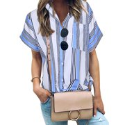Nlife Women Vertical Stripes Colorblock Front Pocket Shirt