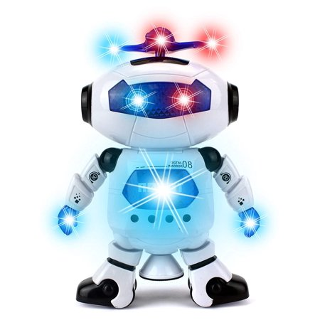 Dancing Toy Robot Figure w/ Colorful Rotating Lights, Music, Dancing Action, 360 Degree Spins! Great birthday present for Kids, Children! (Robots For 4 Year Olds)